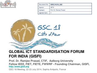 GLOBAL  ict  standardisation forum for  india  ( Gisfi )