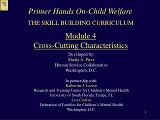 THE SKILL BUILDING CURRICULUM  Module 4 Cross-Cutting Characteristics