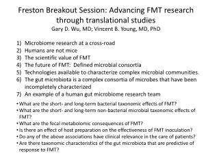 Freston  Breakout Session: Advancing FMT research through translational studies