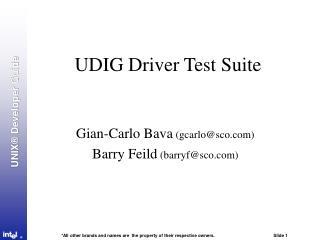 UDIG Driver Test Suite