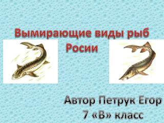 Вымирающие виды рыб Росии