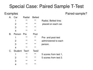 Special Case: Paired Sample T-Test