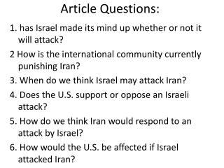 Article Questions:
