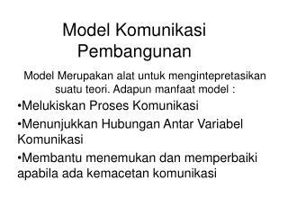 Model Komunikasi Pembangunan