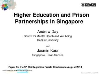 Higher  Education and Prison Partnerships in Singapore