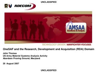OneSAF and the Research, Development and Acquisition (RDA) Domain