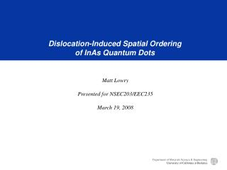 Dislocation-Induced Spatial Ordering of InAs Quantum Dots
