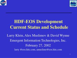 HDF-EOS Development  Current Status and Schedule