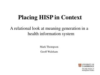 Placing HISP in Context
