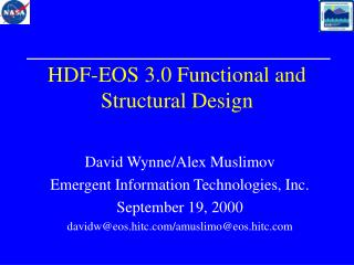 HDF-EOS 3.0 Functional and Structural Design