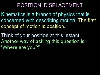 POSITION, DISPLACEMENT