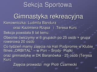 Sekcja Sportowa