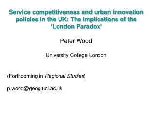 The national economic context: NESTA, 2006: The UK 'Innovation Gap'