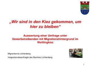 Migrantenrat Lichtenberg Integrationsbeauftragte des Bezirkes Lichtenberg