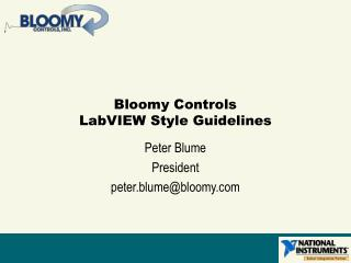 Bloomy Controls LabVIEW Style Guidelines