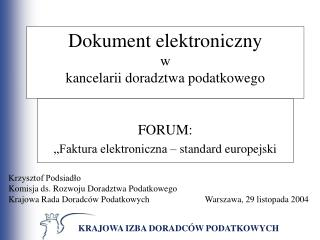 Dokument elektroniczny  w kancelarii doradztwa podatkowego