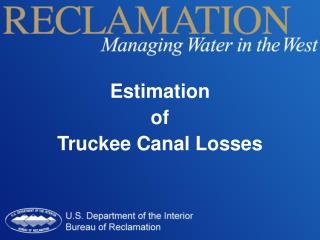 Estimation  of  Truckee Canal Losses