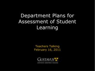 Department Plans for Assessment of Student Learning