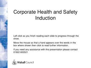 Corporate Health and Safety Induction