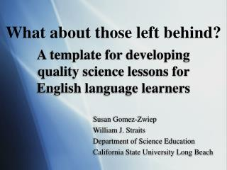 A template for developing quality science lessons for English language learners