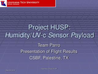 Project HUSP: H umidity/ U V-c  S ensor  P ayload