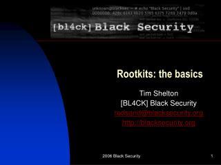 Rootkits: the basics