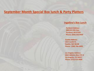 September Month Special Box lunch & Party Platters