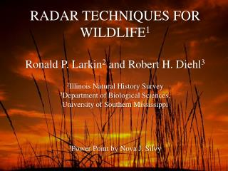 RADAR TECHNIQUES FOR WILDLIFE 1 Ronald P. Larkin 2  and Robert H. Diehl 3