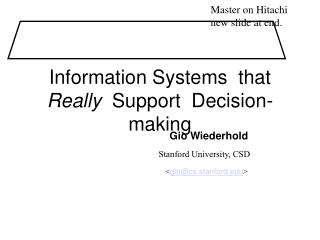 Information Systems  that  Really  Support  Decision-making