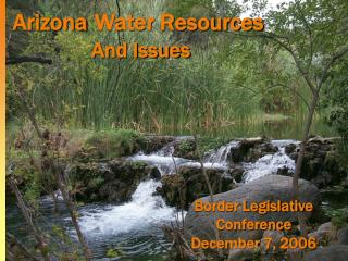 Arizona Water Resources  And Issues