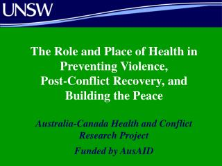 The Role and Place of Health in Preventing Violence,