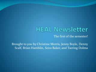 HEAL Newsletter