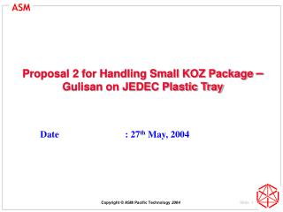 Proposal 2 for Handling Small KOZ Package  –  Gulisan on JEDEC Plastic Tray