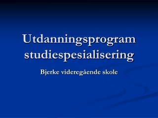 Utdanningsprogram studiespesialisering