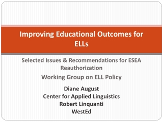 ELD and ELA for English Learners