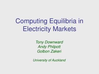 Computing Equilibria in Electricity Markets