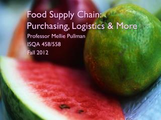 Food Supply Chain  Logistics