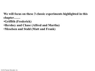 We will focus on these 3 classic experiments highlighted in this chapter…… Griffith (Frederick)