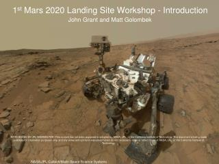1 st  Mars 2020 Landing Site Workshop - Introduction