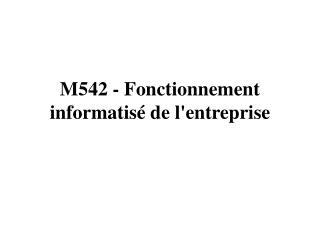 M542 - Fonctionnement informatisé de l'entreprise