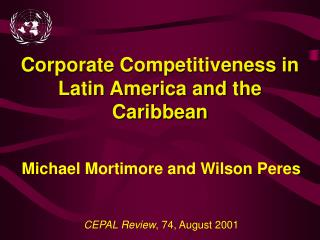 Corporate Competitiveness in Latin America and the Caribbean