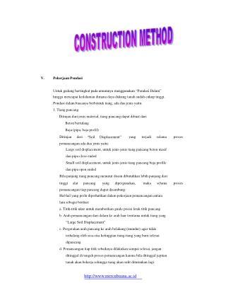 """Pekerjaan Pondasi Untuk gedung bertingkat pada umumnya menggunakan """"Pondasi Dalam"""""""