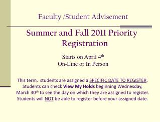 Faculty /Student Advisement