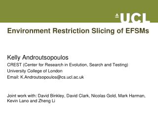 Environment Restriction Slicing of EFSMs
