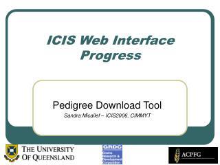 ICIS Web Interface Progress