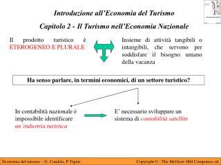 Introduzione all�Economia del Turismo Capitolo 2 - Il Turismo nell�Economia Nazionale