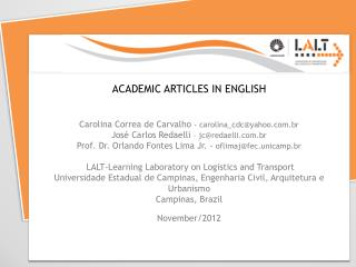 ACADEMIC ARTICLES IN ENGLISH Carolina Correa de Carvalho  - carolina_cdc@yahoo.br