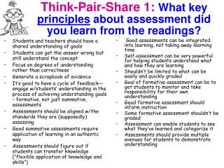 Think-Pair-Share 1: What key  principles  about assessment did you learn from the readings?