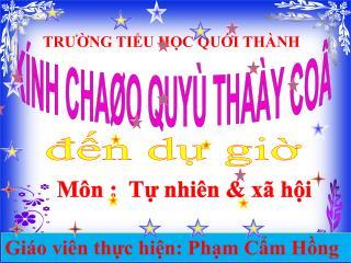 KÍNH CHAØO QUYÙ THAÀY COÂ