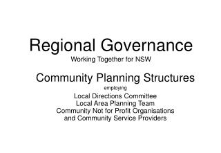Regional Governance Working Together for NSW
